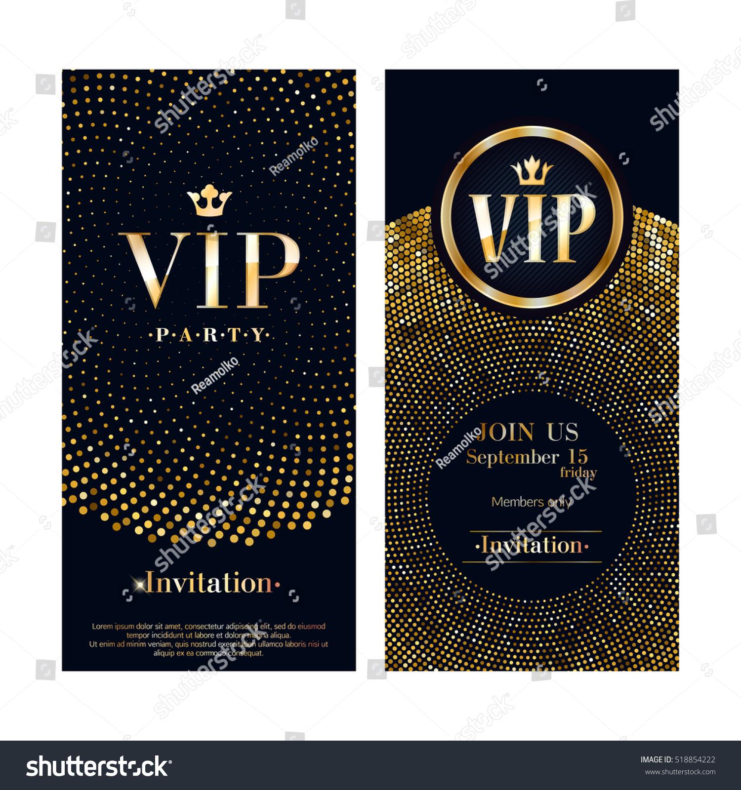 vip club party premium invitation card stock vector 518854222 shutterstock. Black Bedroom Furniture Sets. Home Design Ideas