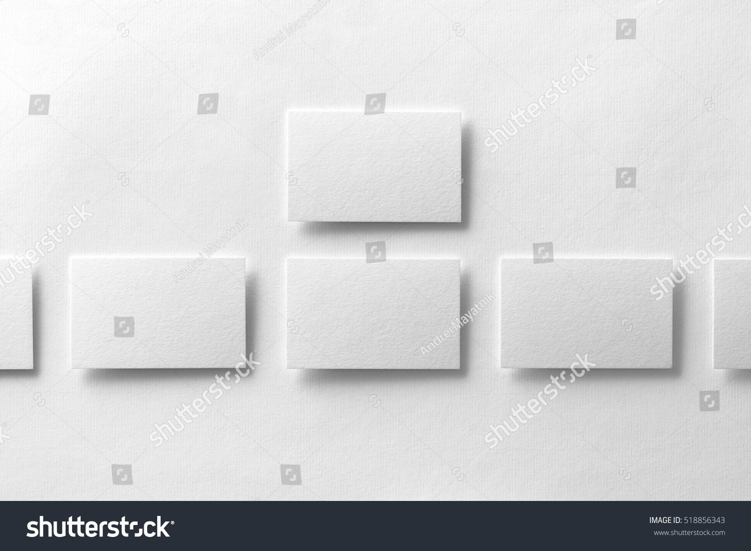 Mockup Business Cards Rows White Textured Stock Photo 518856343 ...