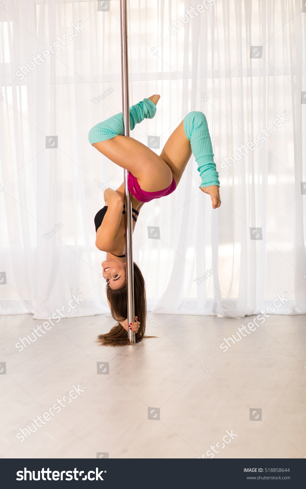 Pretty Pole Dancer Working Out Studio Stock Photo ...