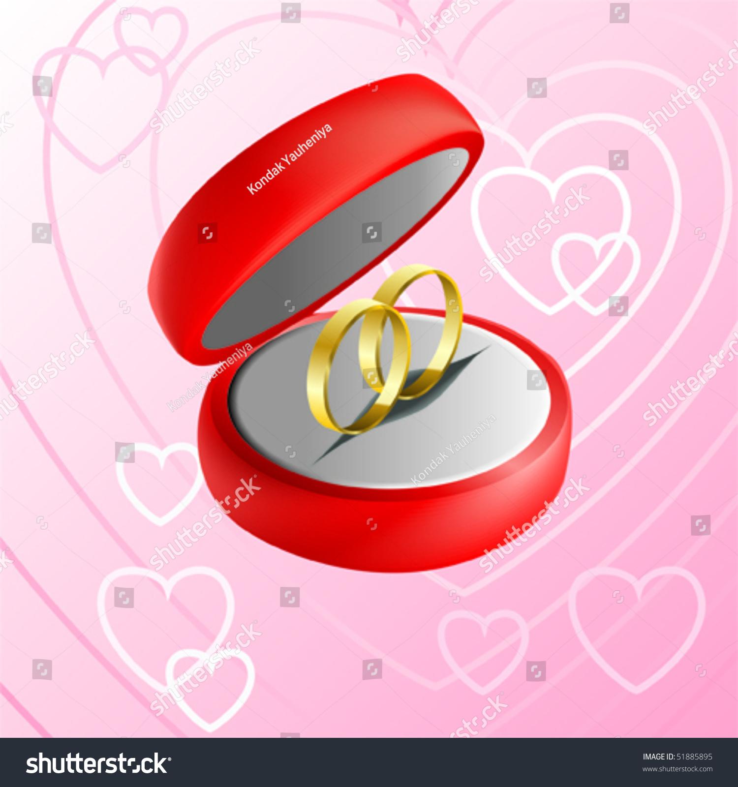 Vector Illustration Red Jewelry Box Wedding Stock Vector 51885895 ...