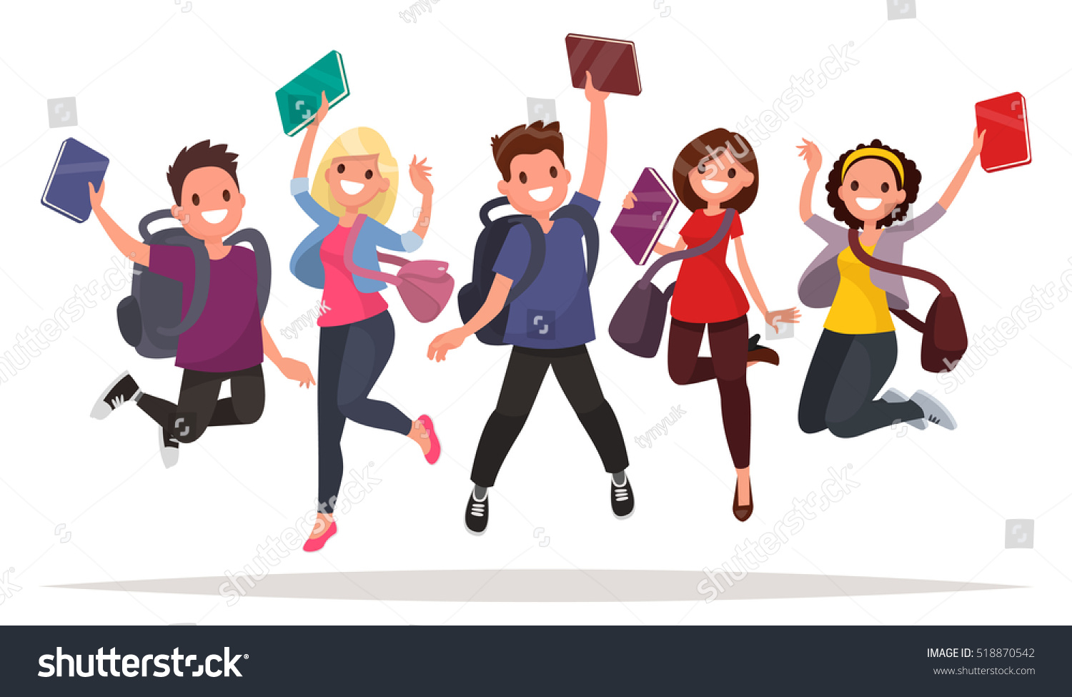 Happy Group Students Jumping On White Stock Vector ...