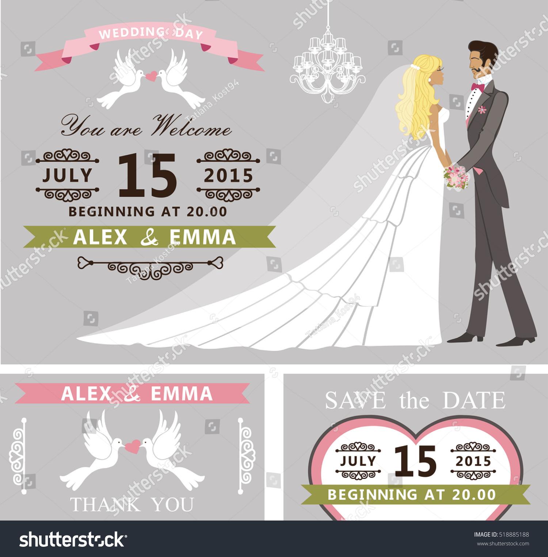 Wedding Invitation Cartoon Couple Bride Groom Retro Stock ...