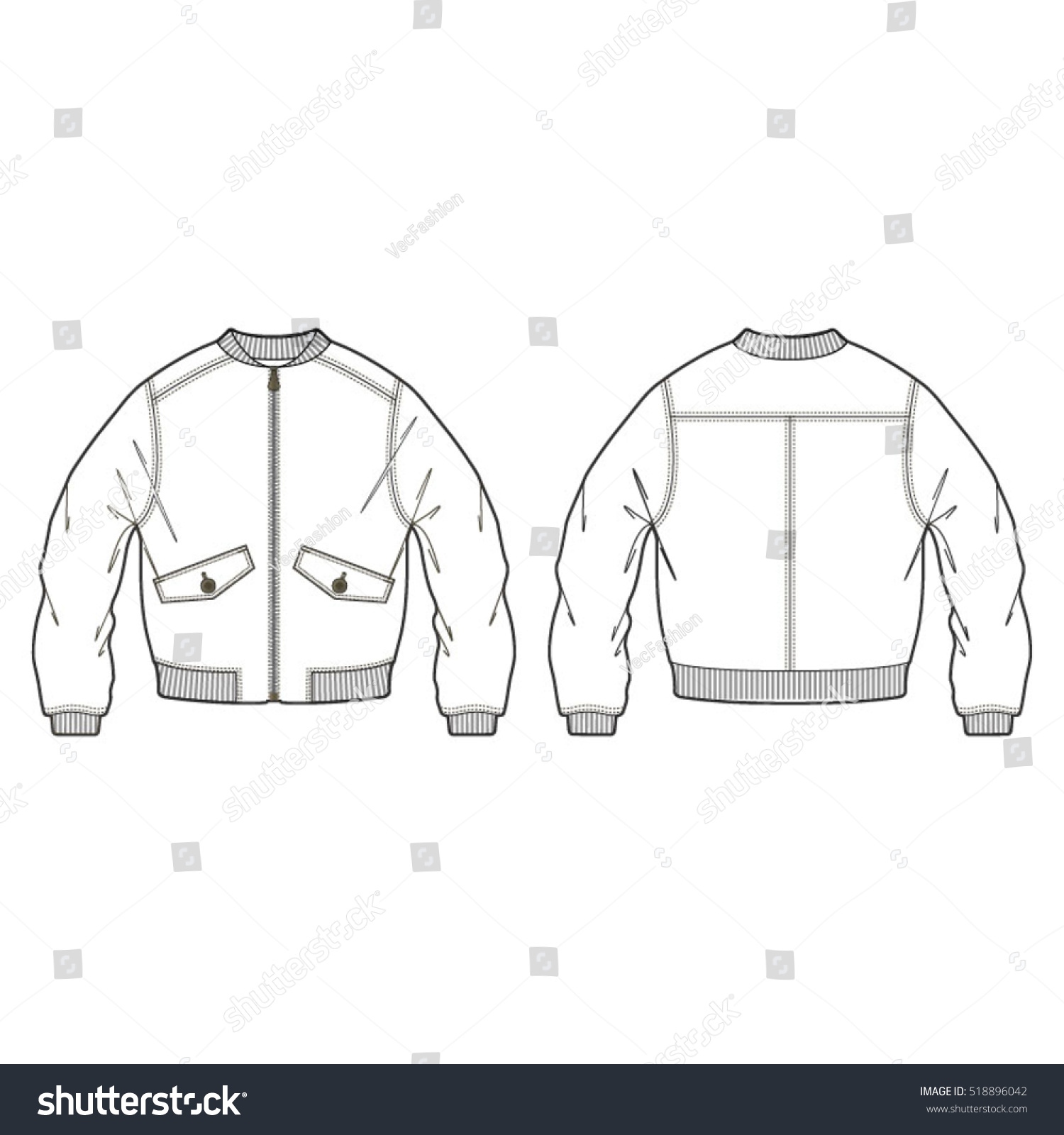 Classic Bomber Jacket Template Stock Vector Royalty Free 518896042
