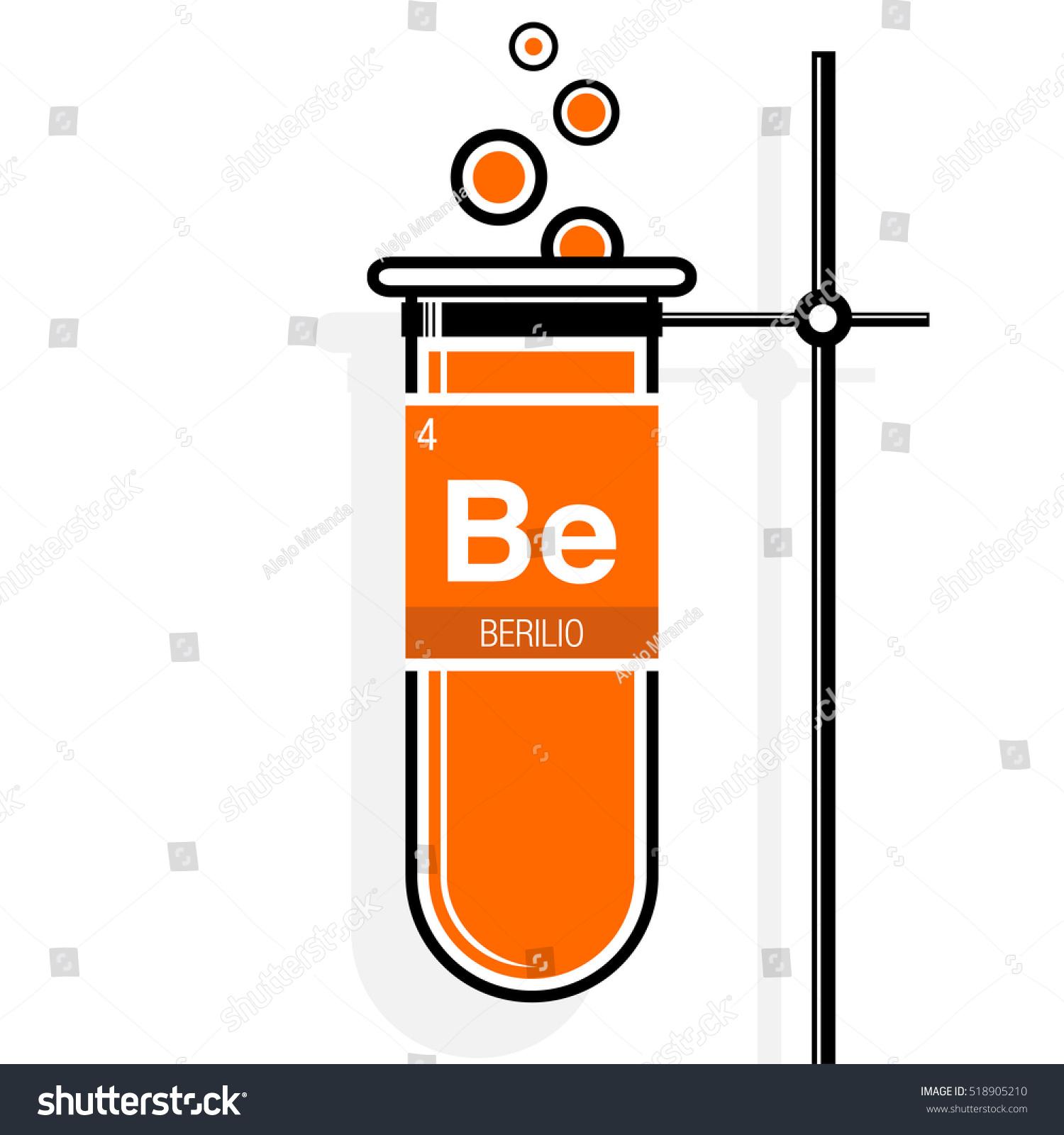 Berilio Symbol Beryllium Spanish Language On Stock Vector -6106