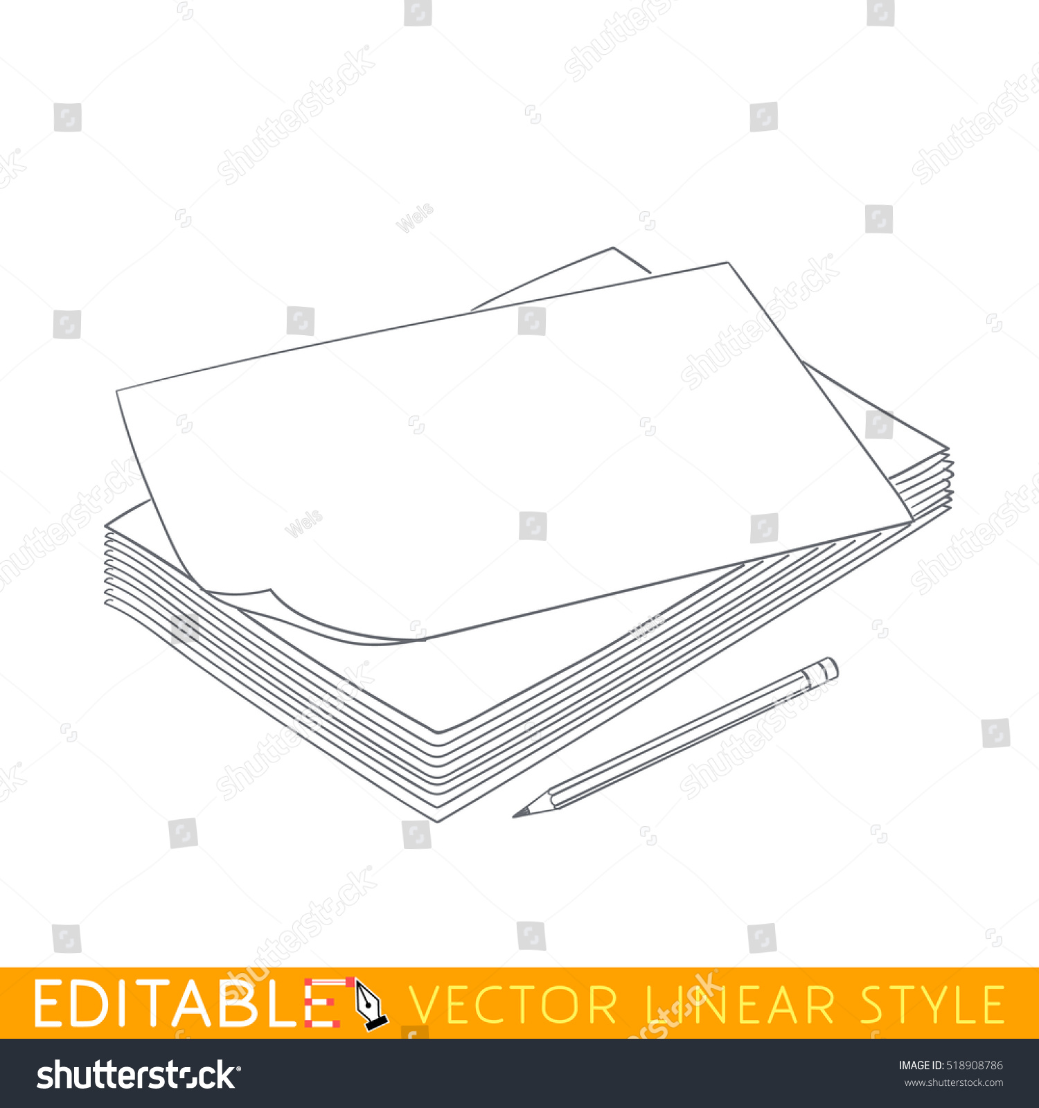 stack blank paper pencil editable outline stock vector  stack of blank paper and pencil editable outline sketch stock vector illustration