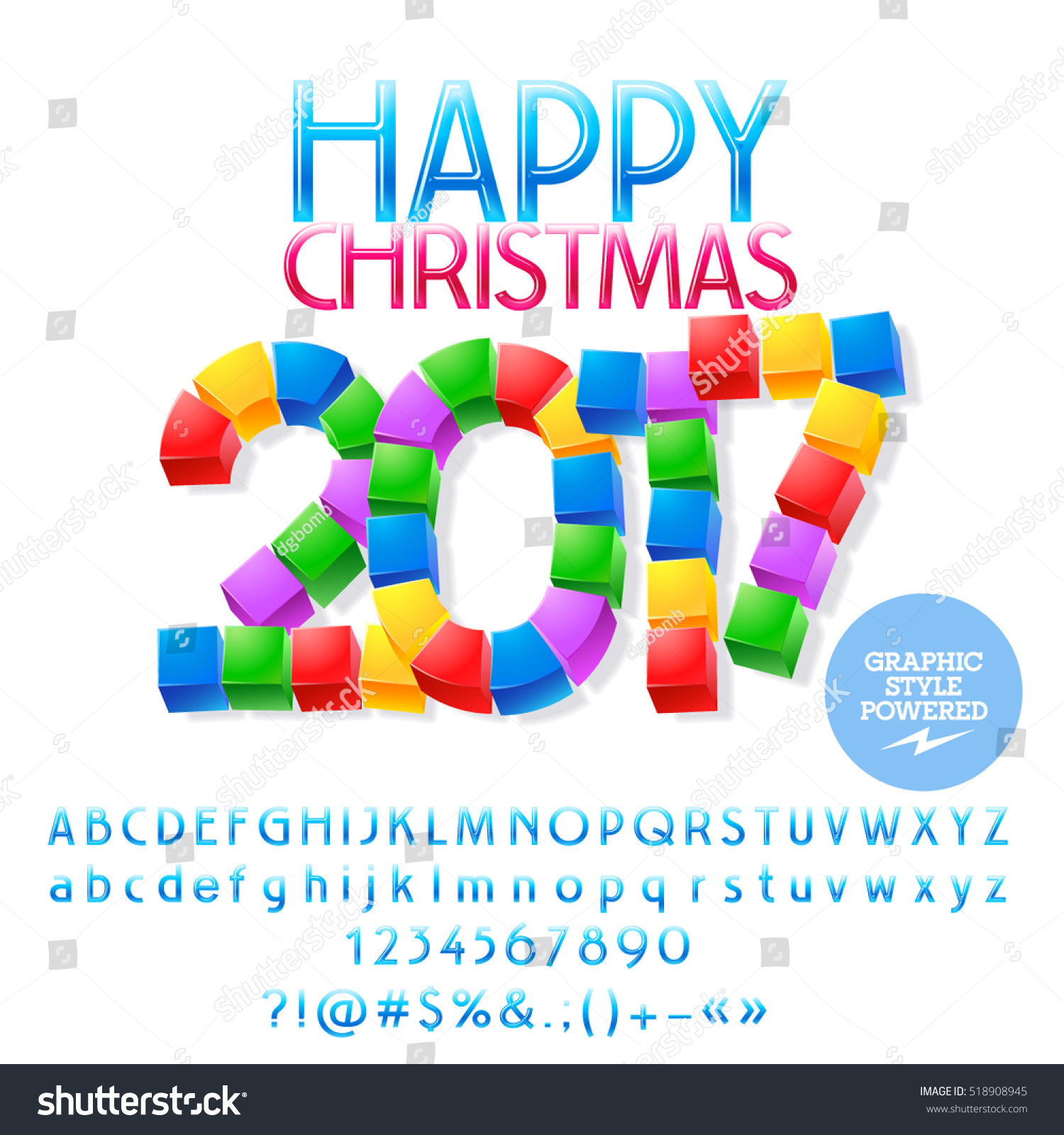Vector Funny Cube Happy Christmas  Greeting Card With Set Of Letters Symbols And Numbers