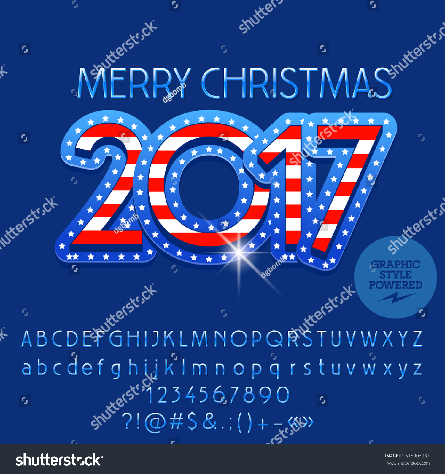 Vector Merry Christmas 2017 Greeting Card Stock Vector 518908987 ...