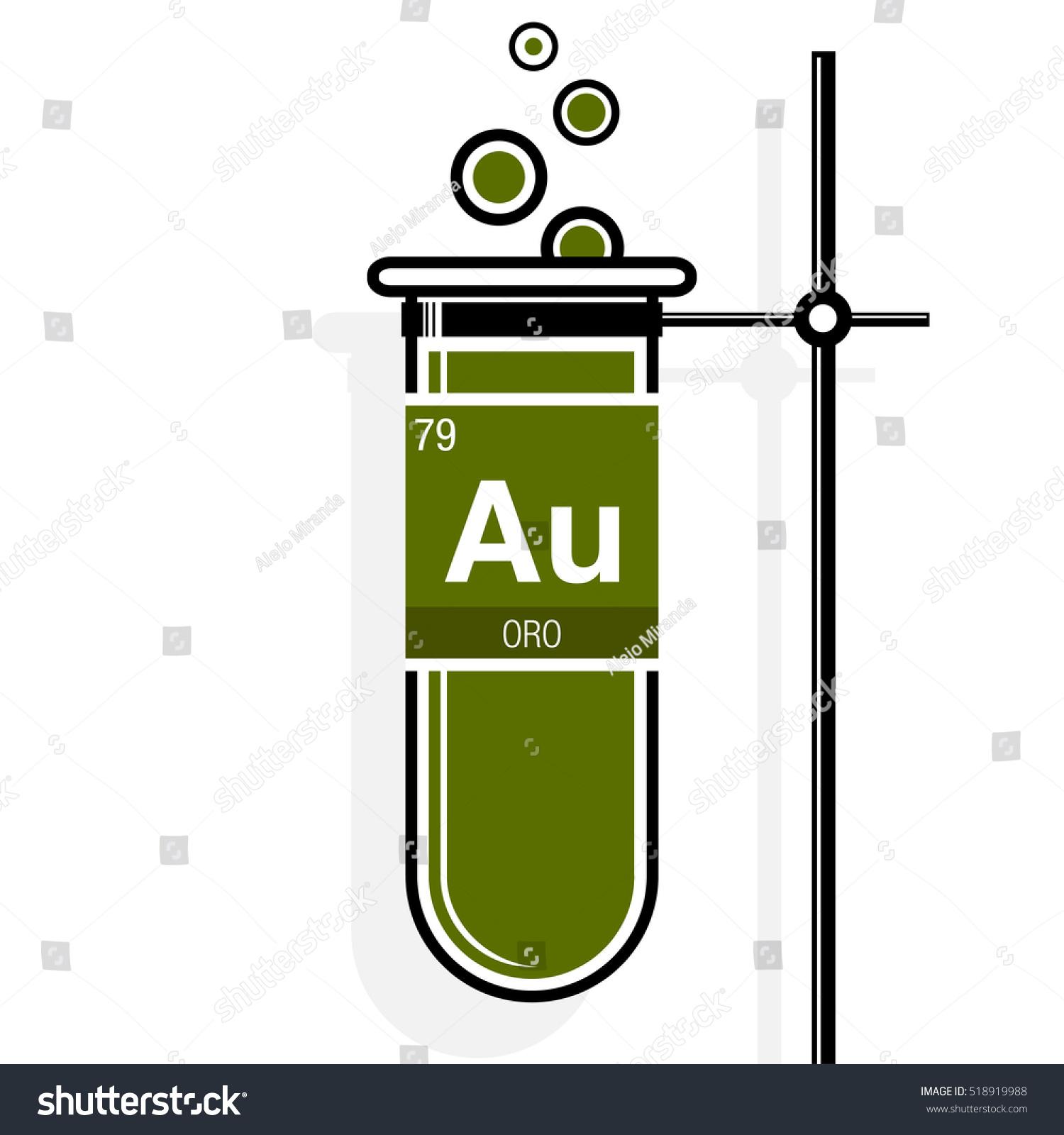 Oro symbol gold spanish language on stock vector 518919988 oro symbol gold in spanish language on label in a green test tube with biocorpaavc