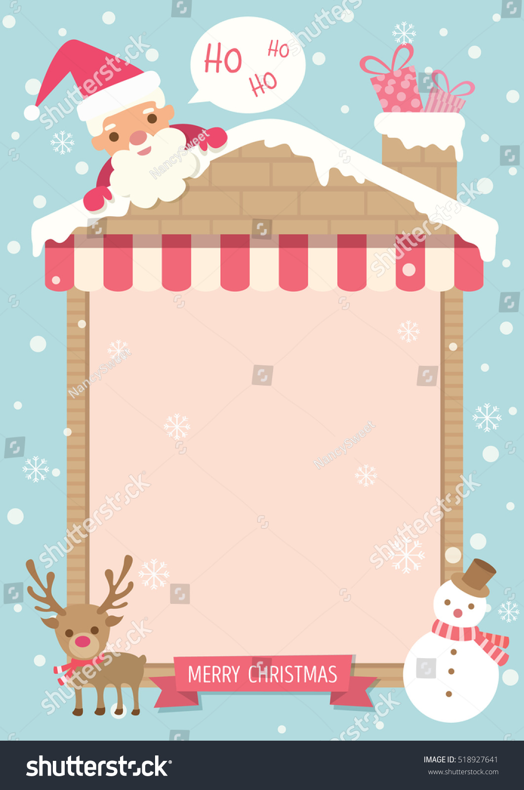 Merry Christmas Background Template Poster Decorated Stock