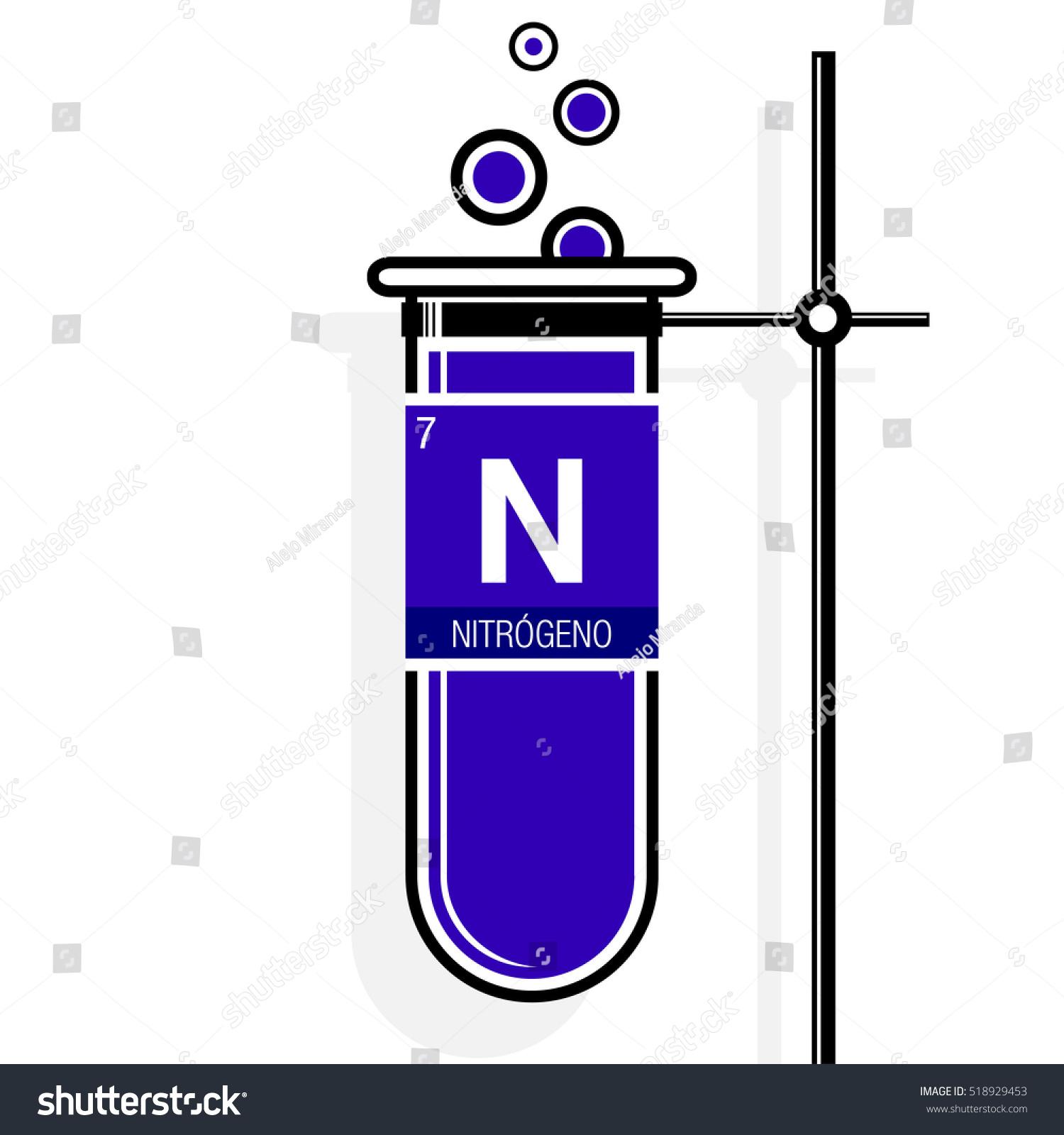 Nitrogeno symbol nitrogen spanish language on stock vector nitrogeno symbol nitrogen in spanish language on label in a violet test tube with buycottarizona