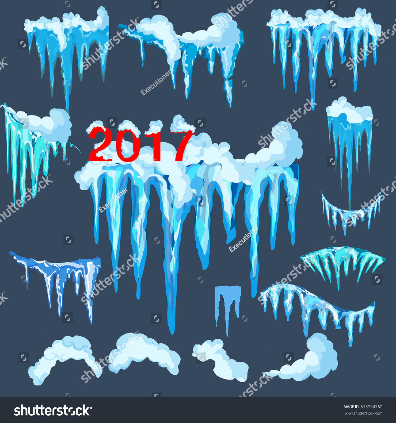 set isolated snow cap icicles snowy stock vector royalty free