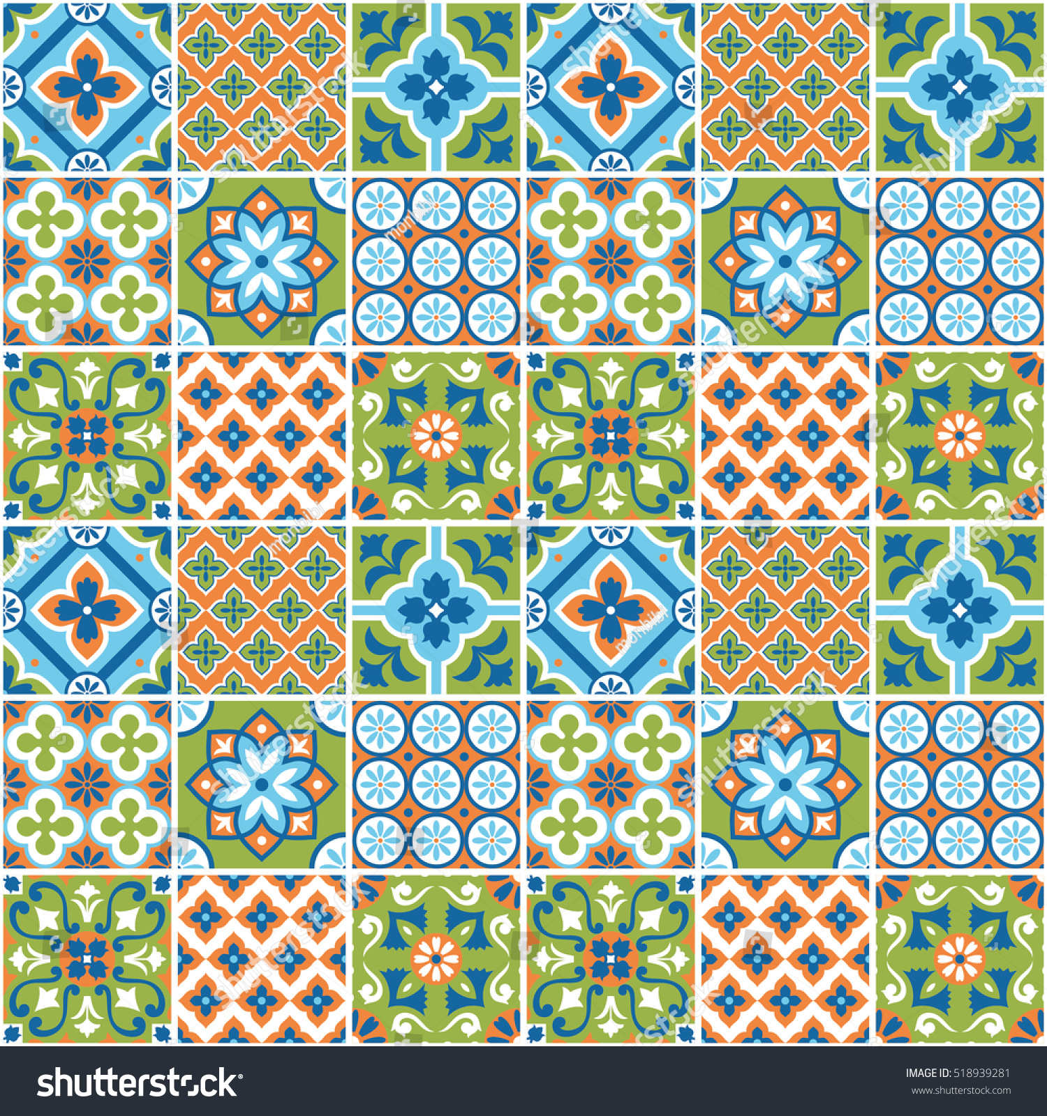 Decorative Colorful Tile Pattern Design Vector Stock Vector ...