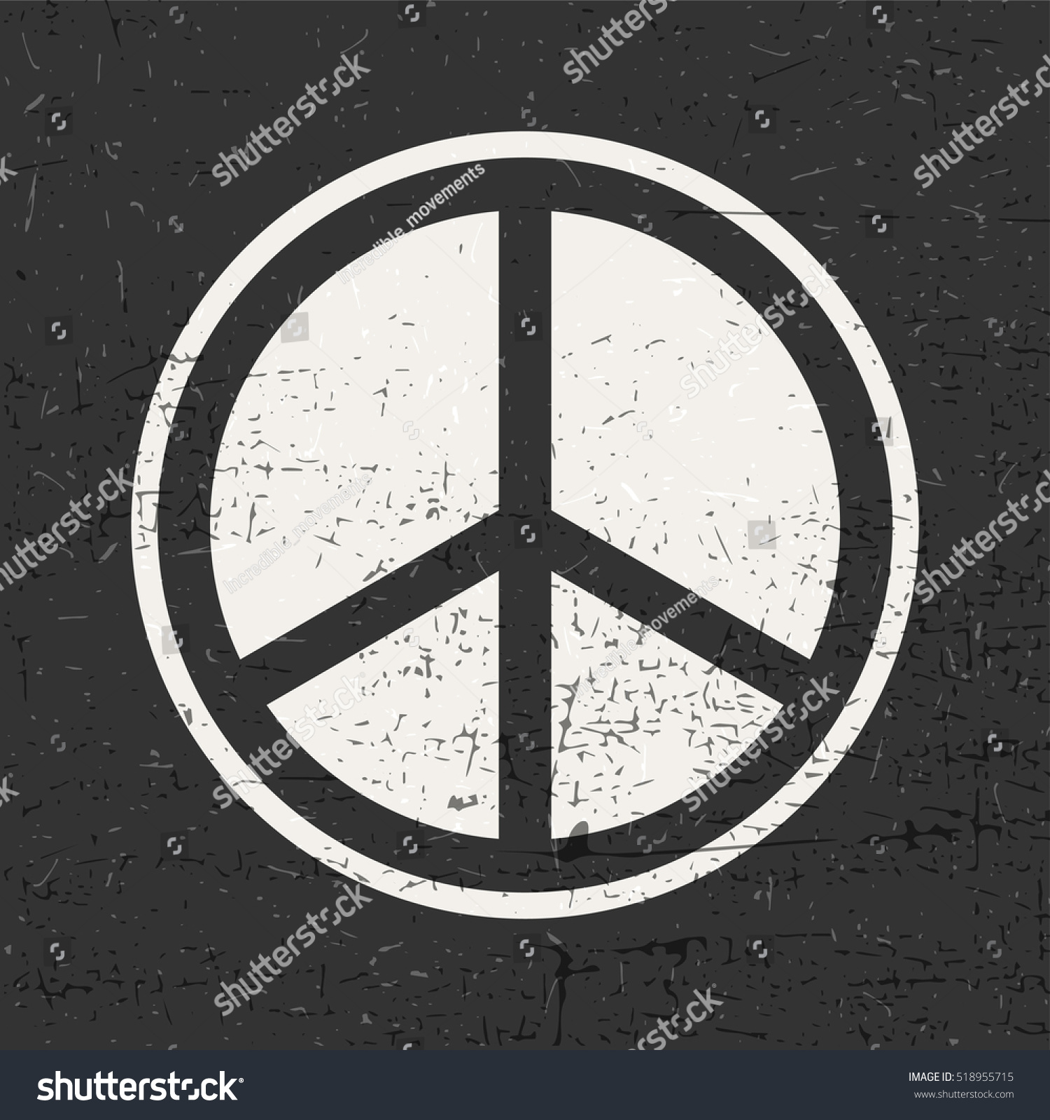 Peace Symbol On On Black Inside Stock Vector Royalty Free