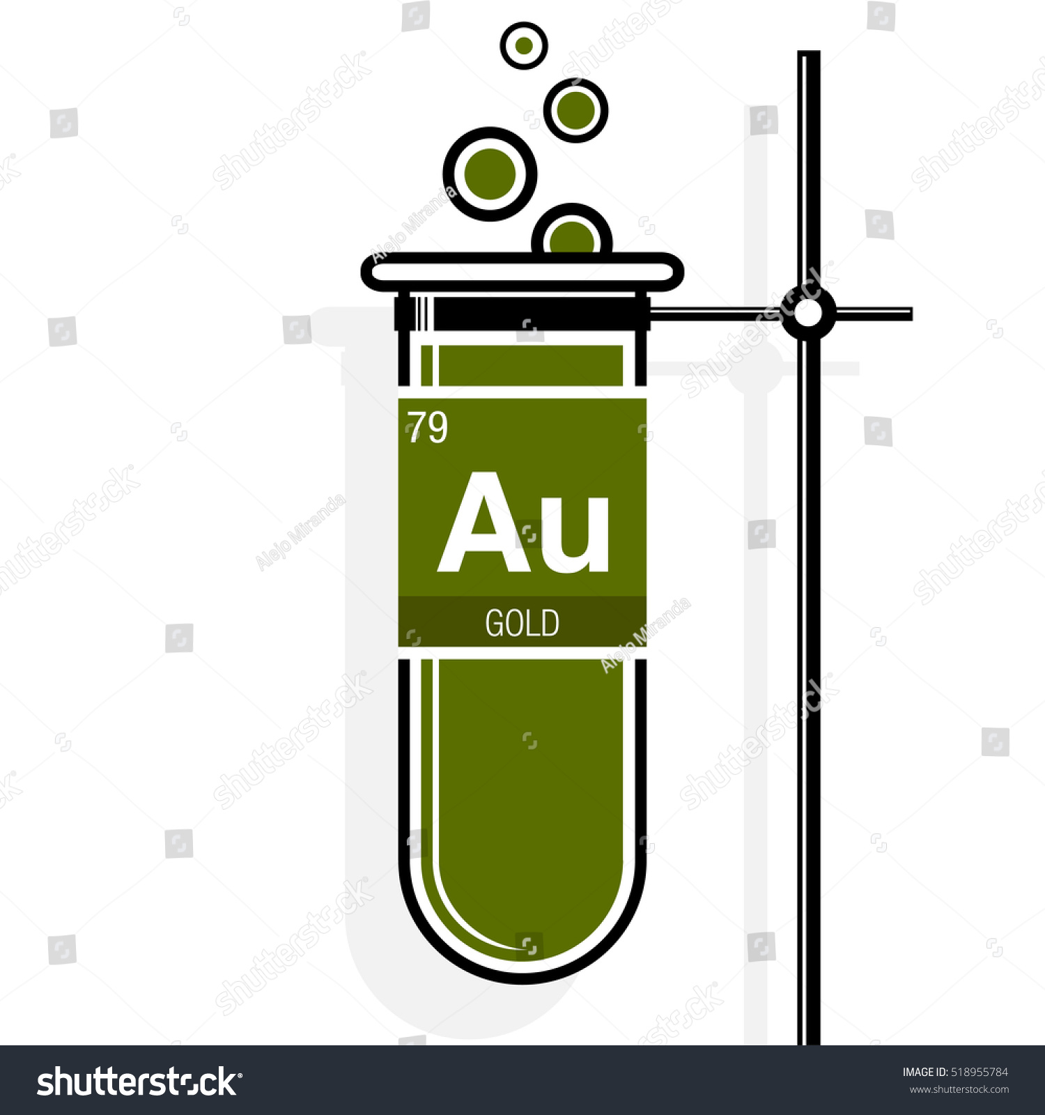 Gold Symbol On Label Green Test Stock Vector Royalty Free