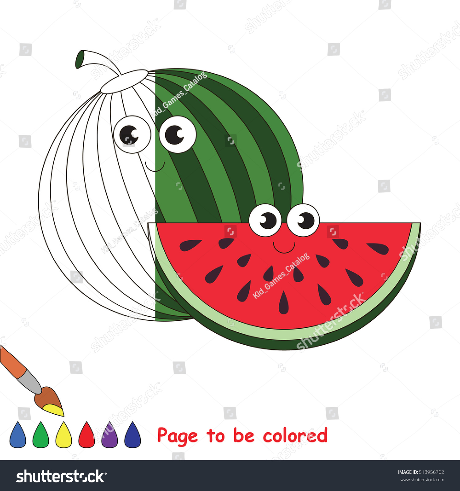 Watermelon Slice Be Colored Coloring Book Stock Photo (Photo, Vector ...
