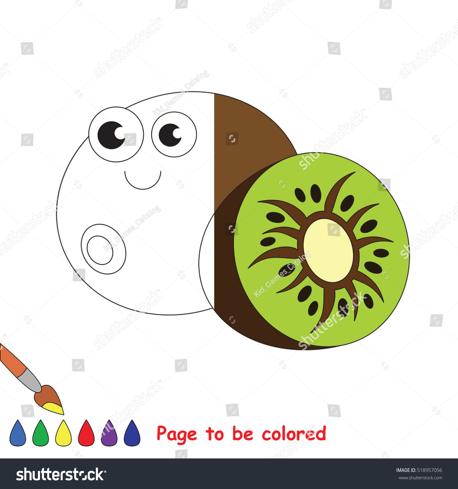 Kiwi Be Colored Coloring Book Educate Stock Photo (Photo, Vector ...