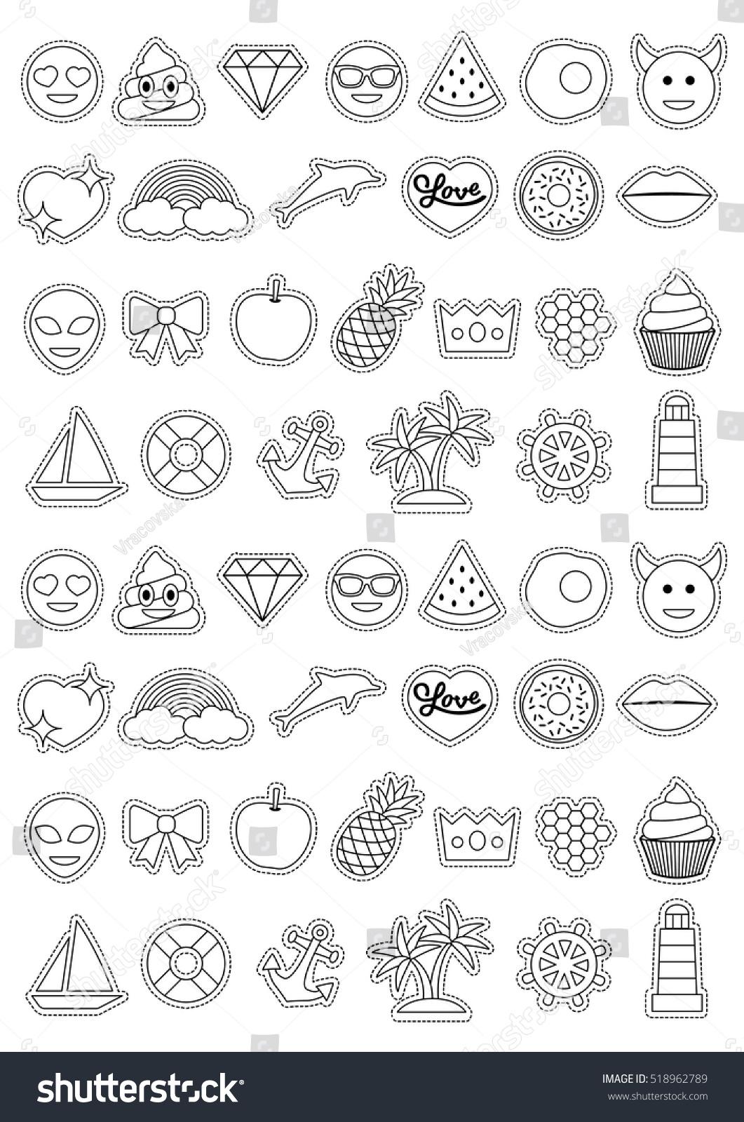 Emoticon Stickers Coloring Page A4 Emoji Stock Vector Royalty Free 518962789