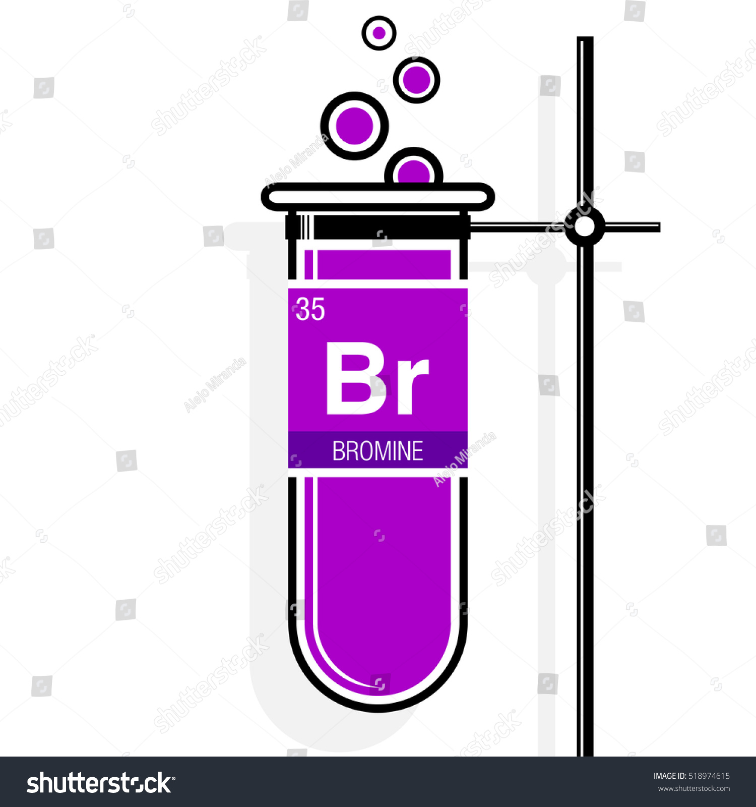 Bromine symbol on label magenta test stock vector 518974615 bromine symbol on label in a magenta test tube with holder element number 35 of gamestrikefo Gallery