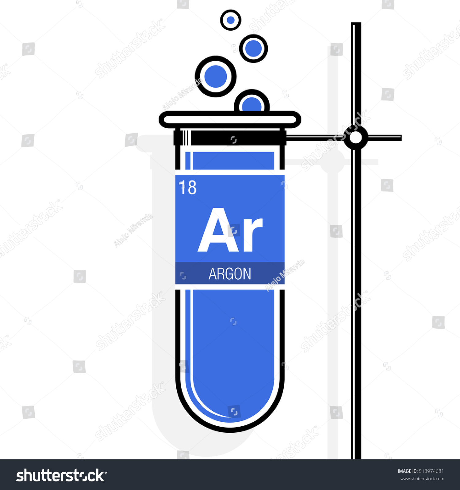 Argon symbol on label blue test stock vector 518974681 shutterstock argon symbol on label in a blue test tube with holder element number 18 of urtaz Choice Image