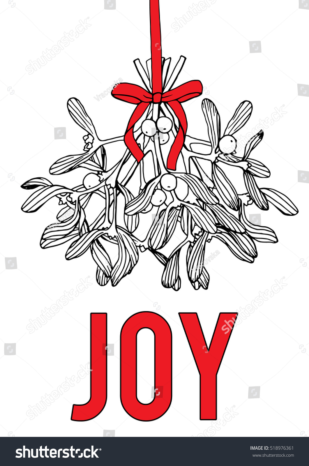 JOY Hand Drawn Christmas Card Mistletoe Stock Vector (Royalty Free ...