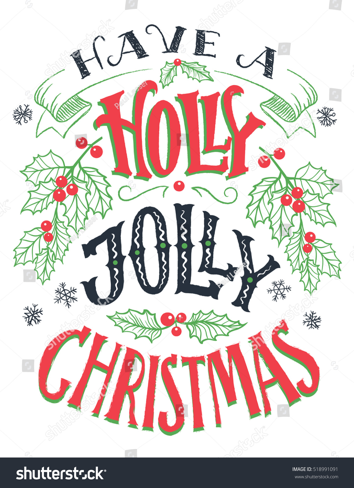Have Holly Jolly Christmas Vintage Hand Stock Vector (Royalty Free ...