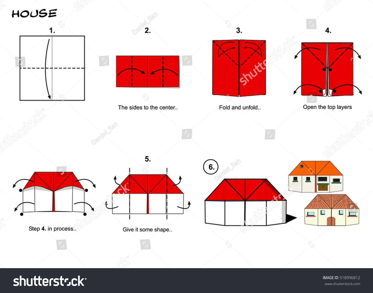 Origami house instructions steps