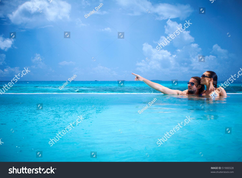 Romantic Couple Alone Infinity Swimming Pool Stock Photo 51900328 Shutterstock