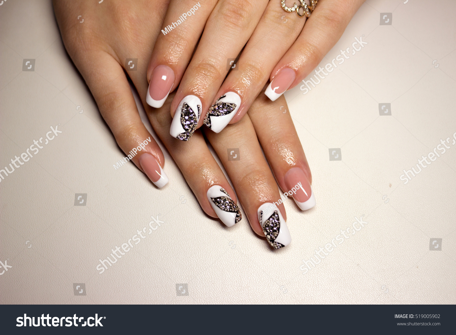 Nail Design White French Manicure Black Stock Photo (Royalty Free ...