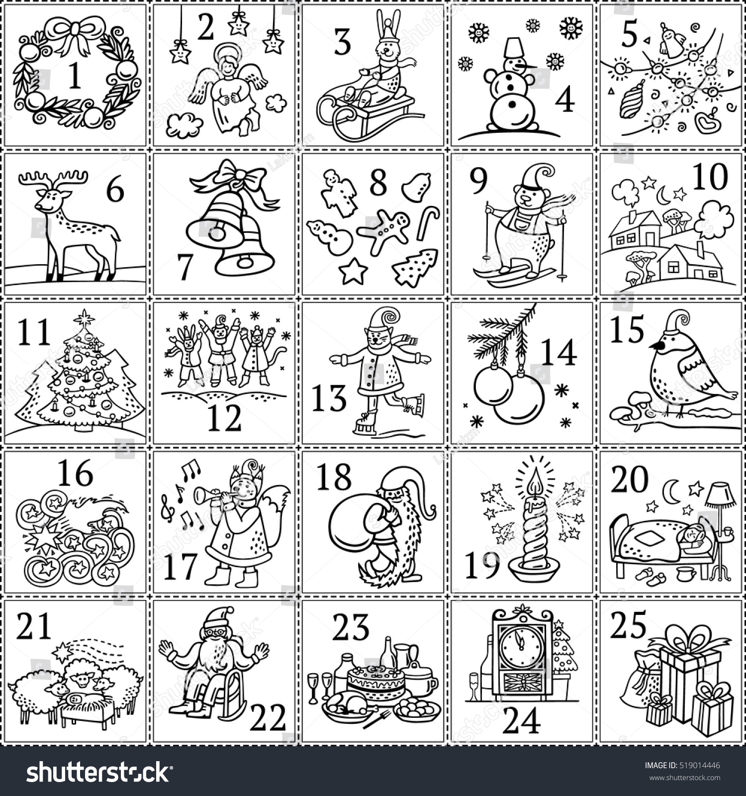 Christmas advent calendar december colouring book stock for Children s advent coloring pages