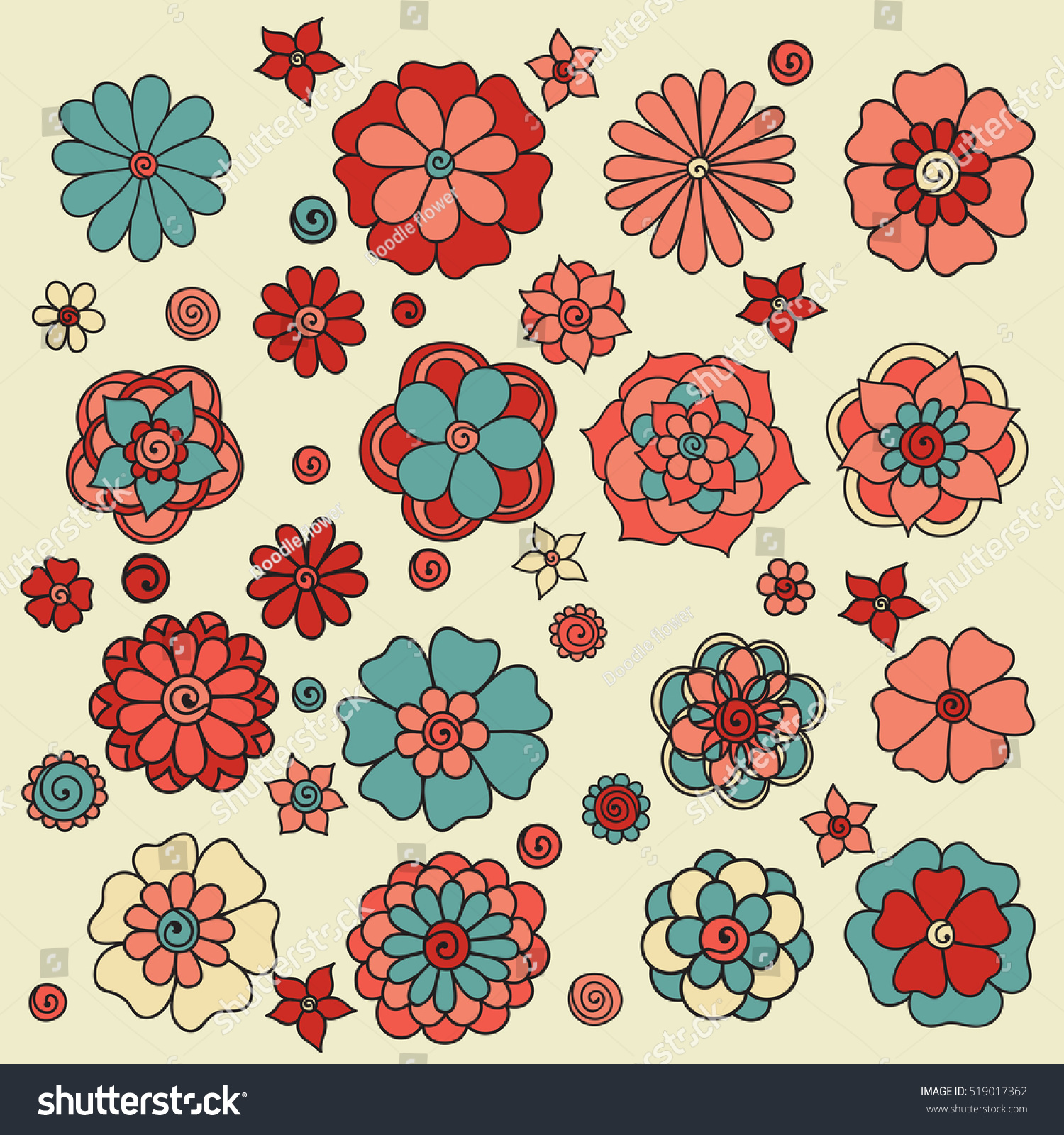 Set Flowers On White Background Spring Stock Vector 519017362 ...