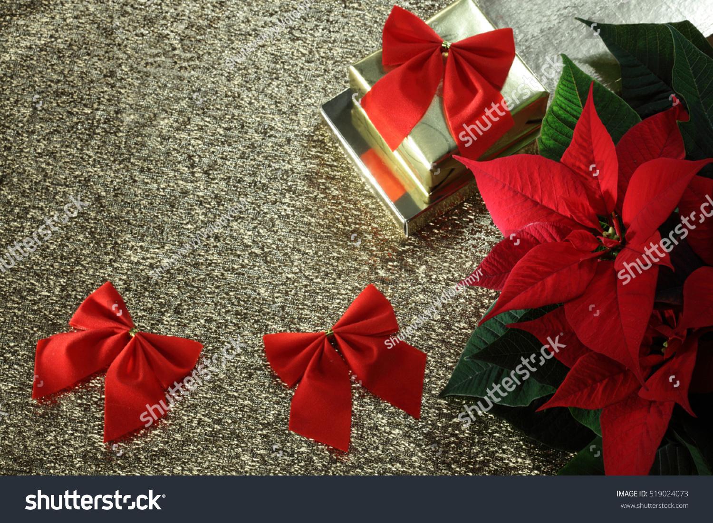 Red Poinsettia Christmas Flower Christmas Golden Background Ez