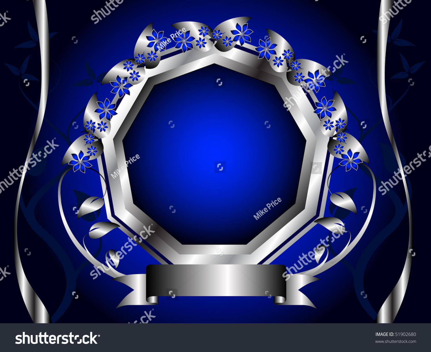 A Blue And Silver Floral Design With Room For Text On Royal Background