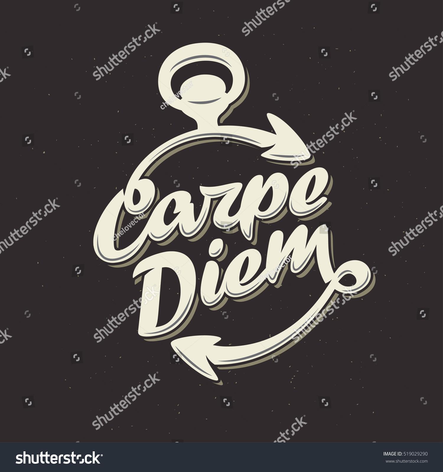 Inspirational Quote Carpe Diem Latin Translation Stock Vector