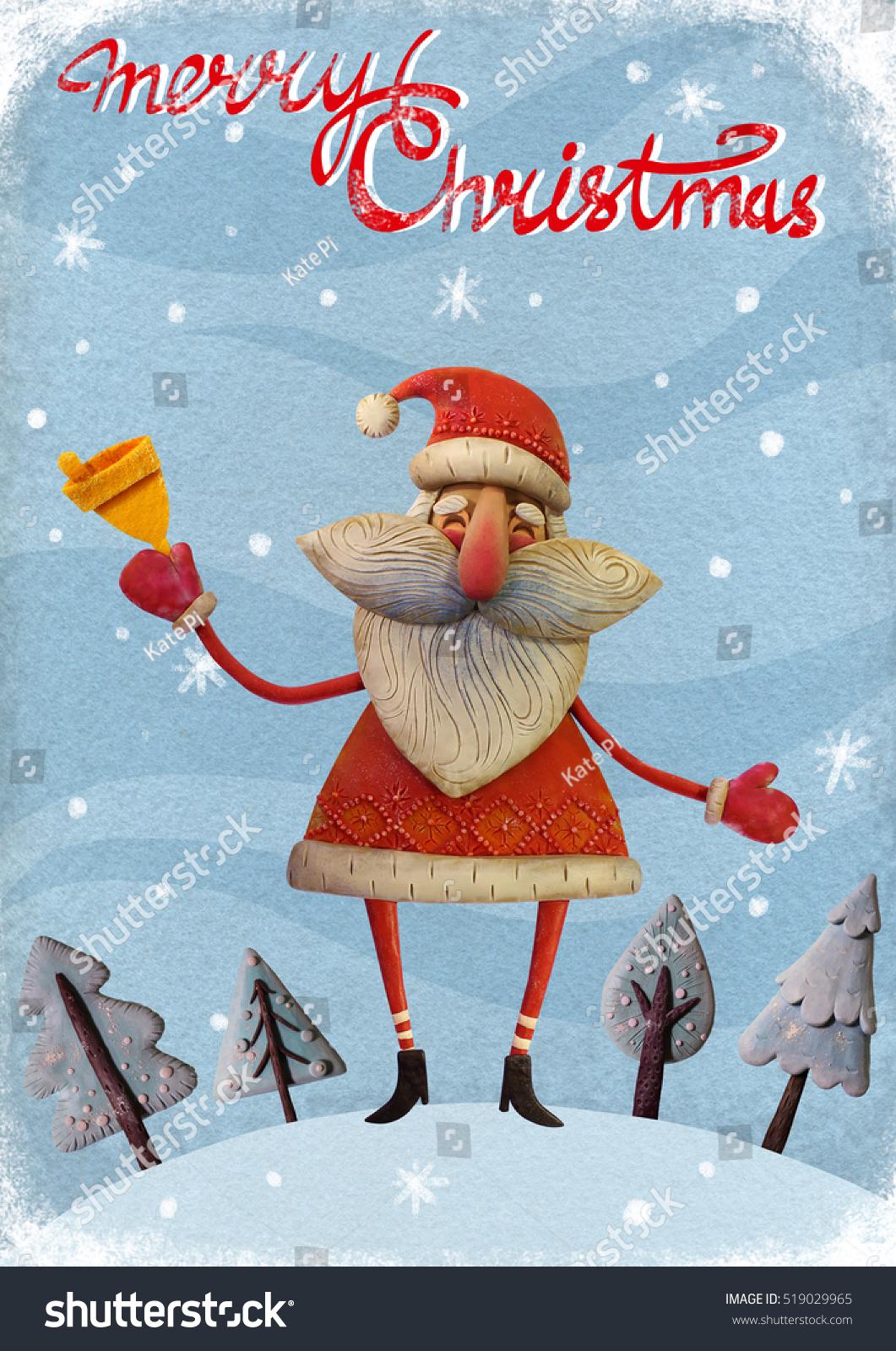 Handmade christmas greeting card santa claus stock illustration handmade christmas greeting card with santa claus ringing bell santa claus with a bell in kristyandbryce Gallery