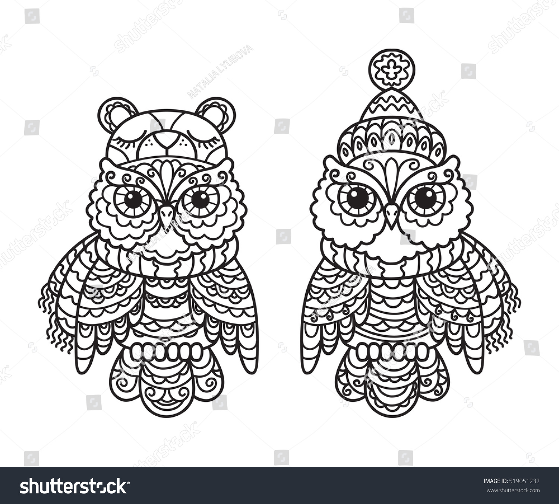 vector set hat scarf owl black stock vector 519051232 shutterstock