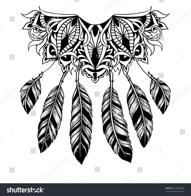 Lacy Dreamcatcher Ethnic Symbol Mystical Faith Stock Vector Royalty