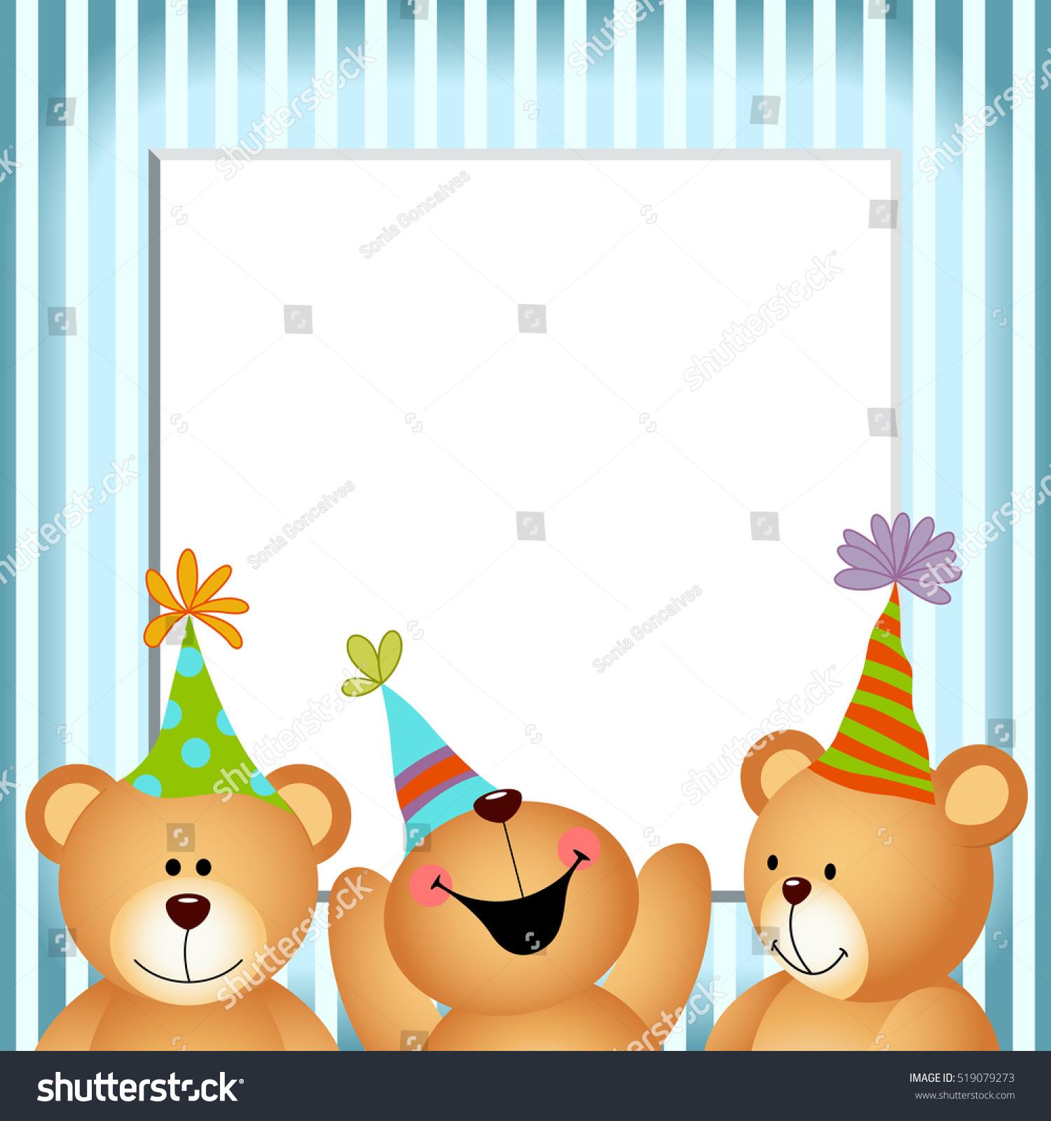 Blue Frame Happy Birthday Teddy Bears Stock Photo (Photo, Vector ...