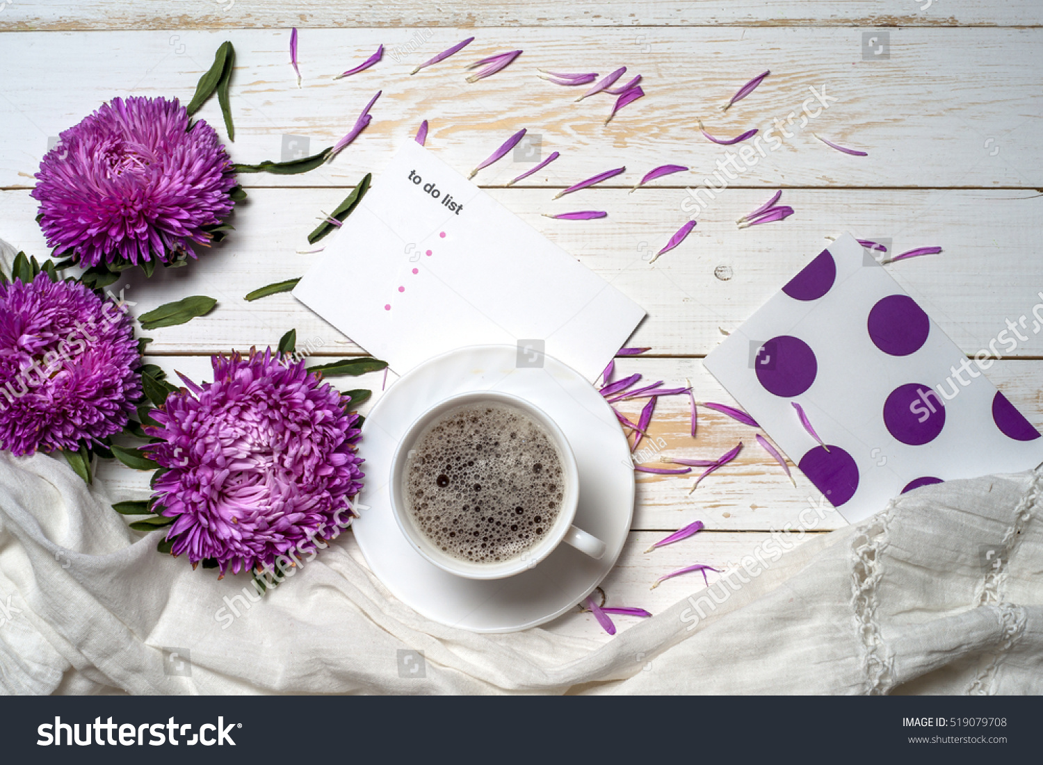 Book Cup Coffee Purple Flowers Copy Stock Photo Edit Now 519079708
