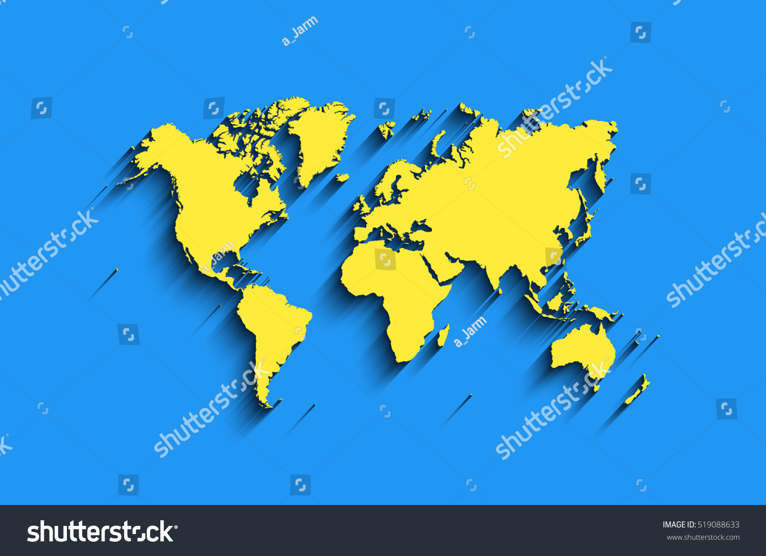 Vector world map blue yellow colors stock vector 519088633 vector world map in blue yellow colors with shadow modern map background clear gumiabroncs Choice Image