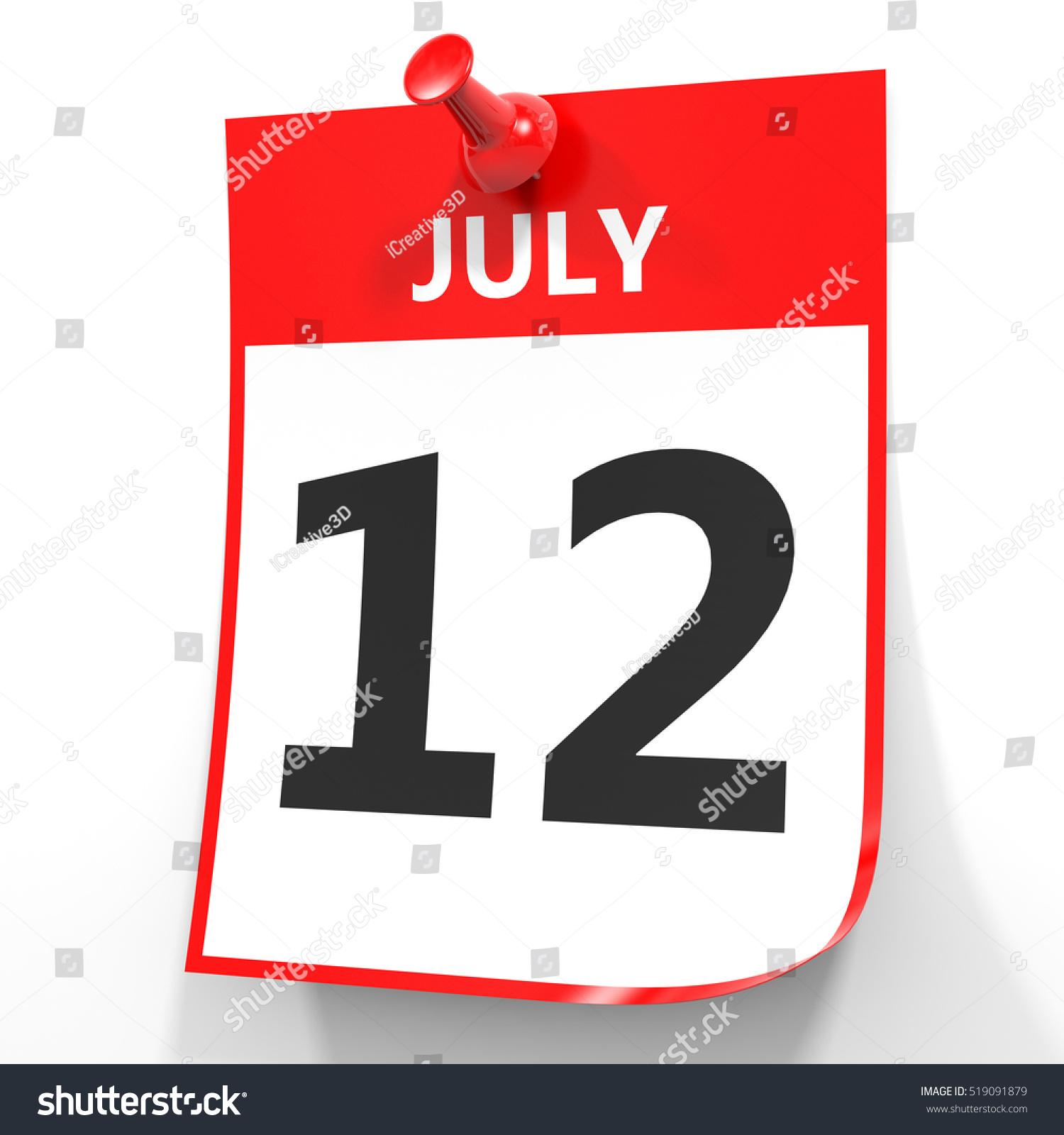 Calendar Illustration Search : July calendar on white background d illustration