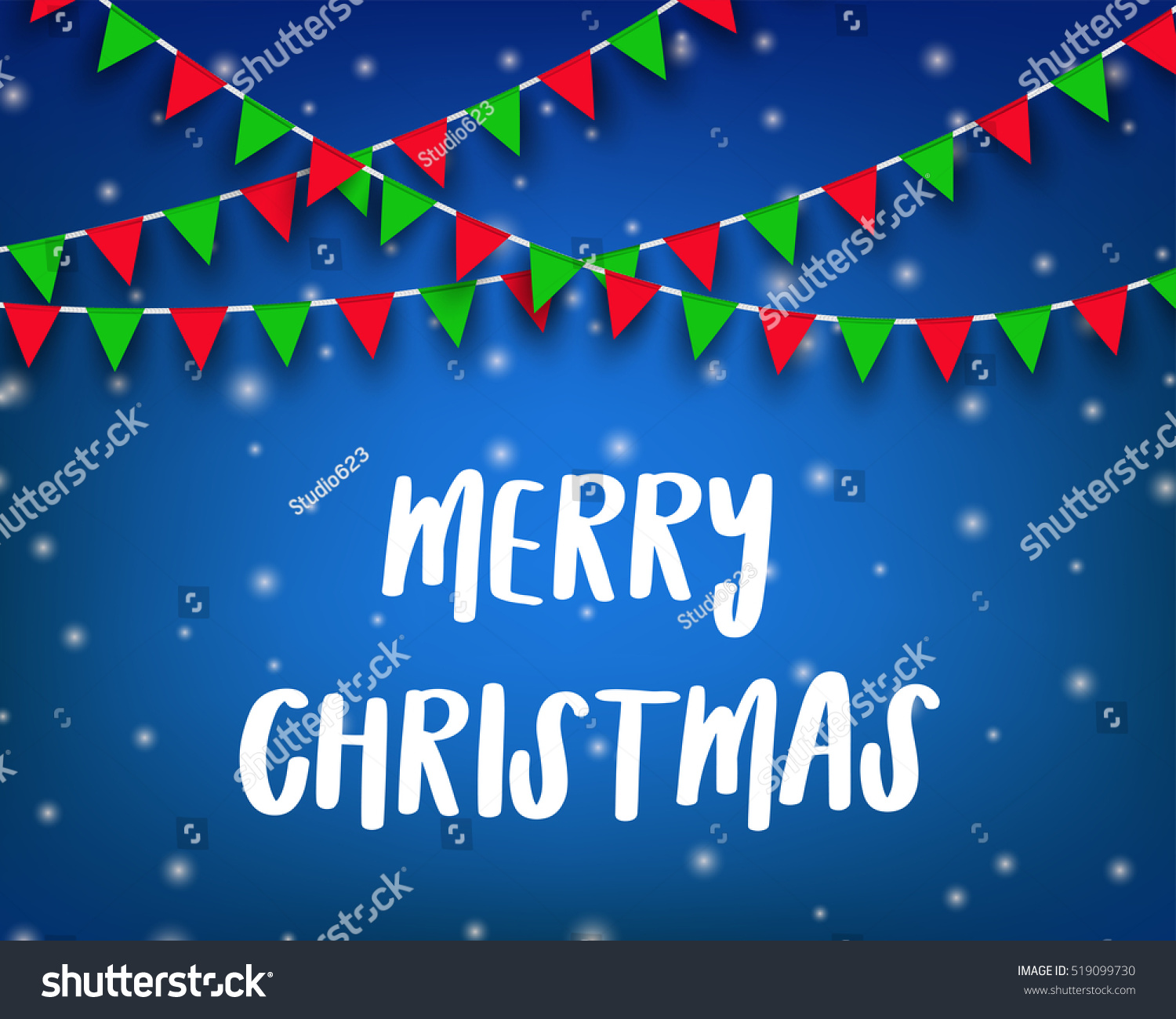Merry Christmas Wording Bunting Flag Concept Stock Illustration