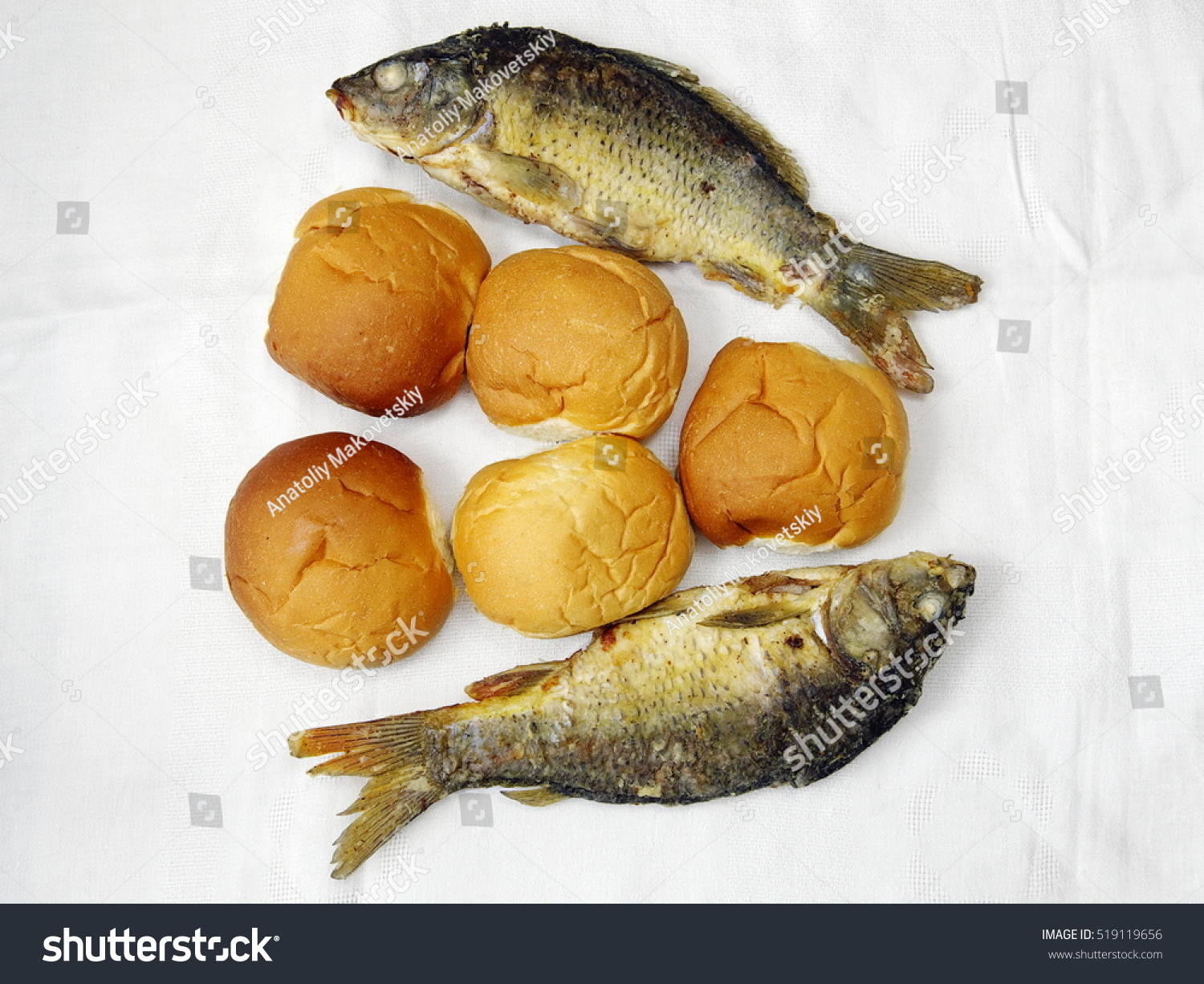 Five loaves two fishes stock photo 519119656 shutterstock for Five loaves two fish