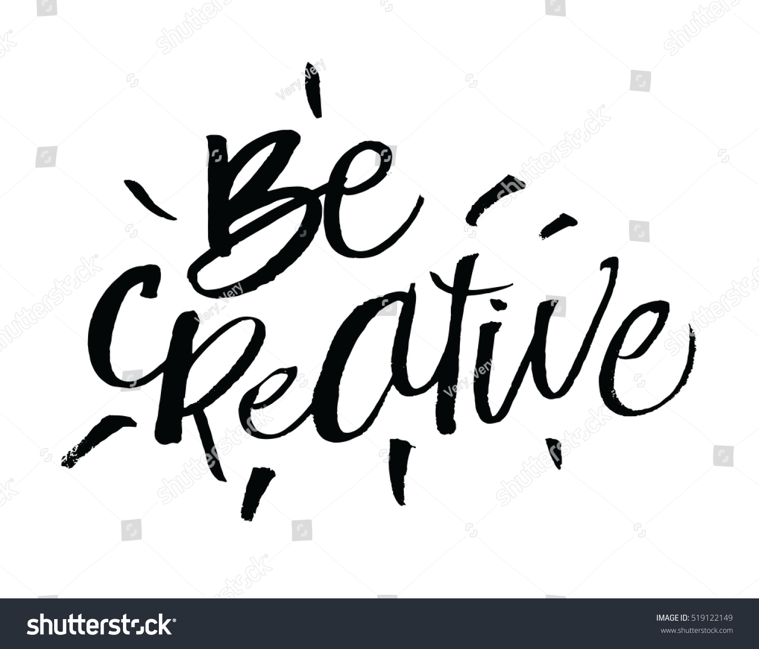 Be Creative Inspirational Motivational Quotes Hand Stock