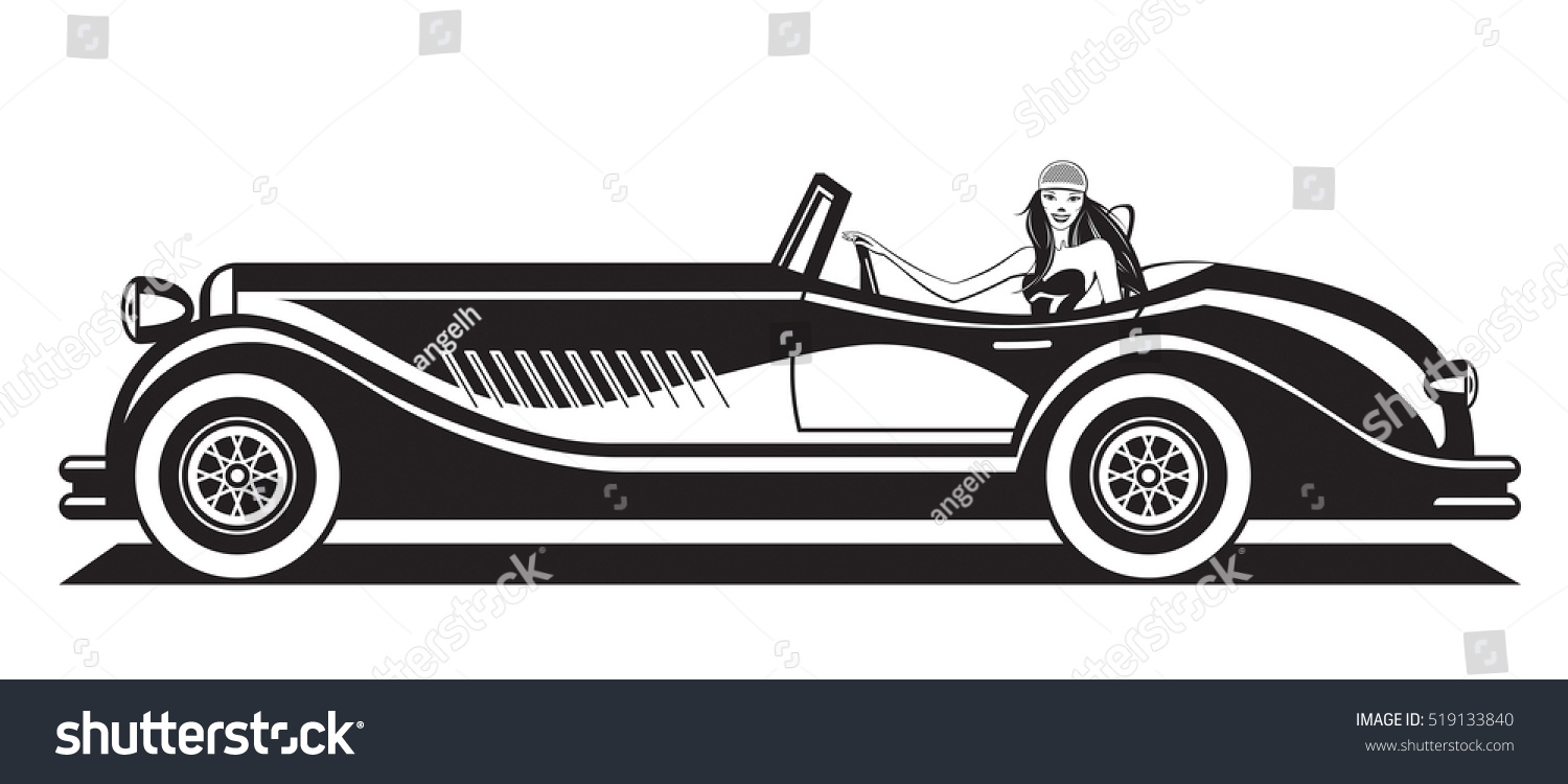 Fashion Model Driving Classic Car Vector Stock Vector