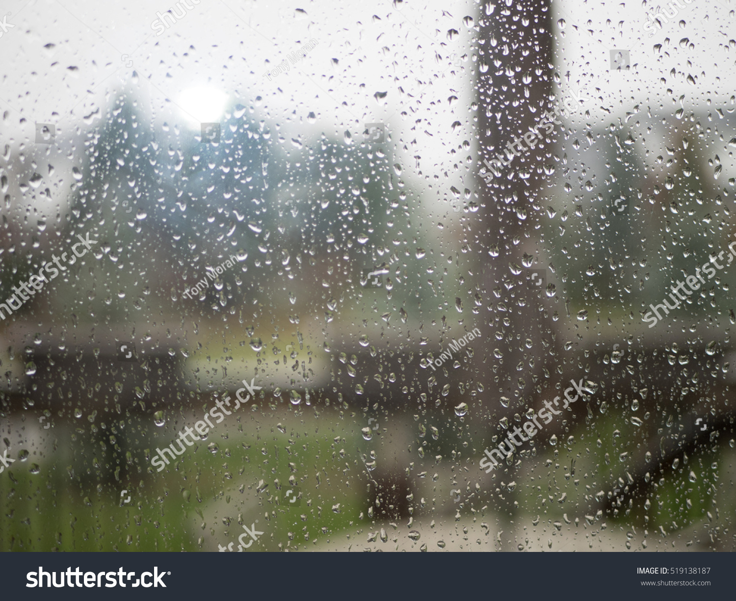 Raindrops On Steamy Patio Glass Door Stock Photo Edit Now