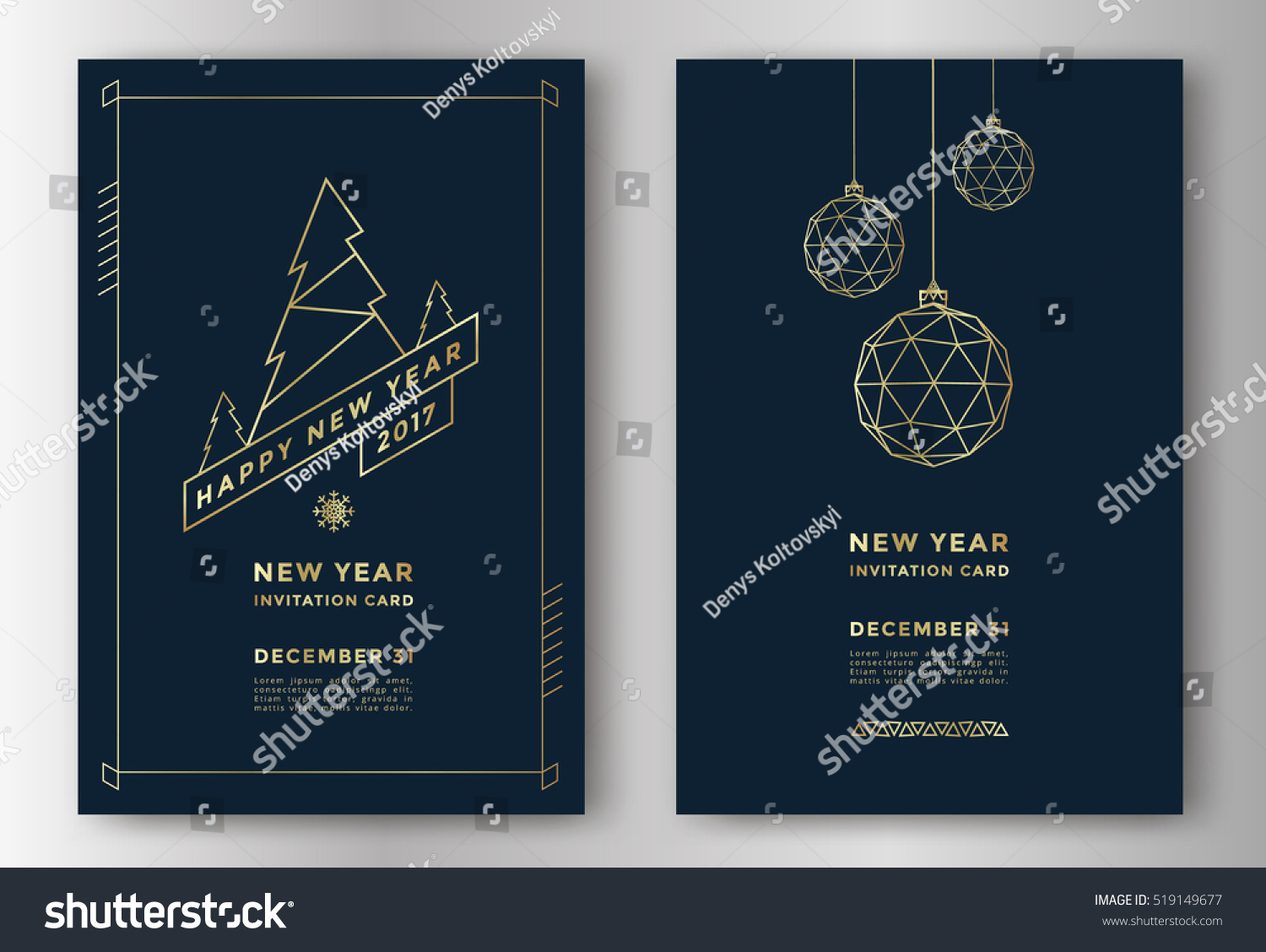 New Year greeting card design with stylized christmas ball and christmas tree. Vector illustration #519149677
