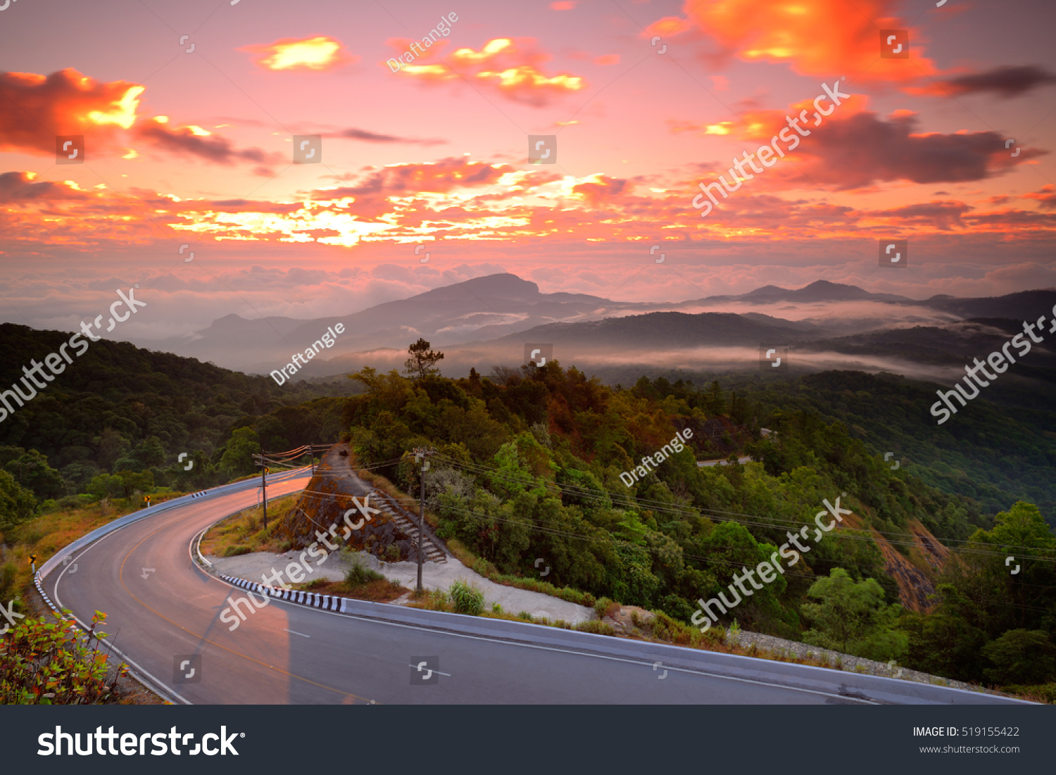 Mountain road view in Chiang Mai Thailand