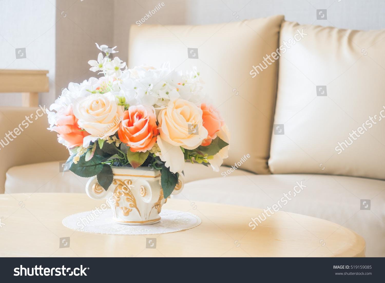 Beautiful flower vase on table decoration stock photo edit now beautiful flower vase on table decoration in living room area interior izmirmasajfo