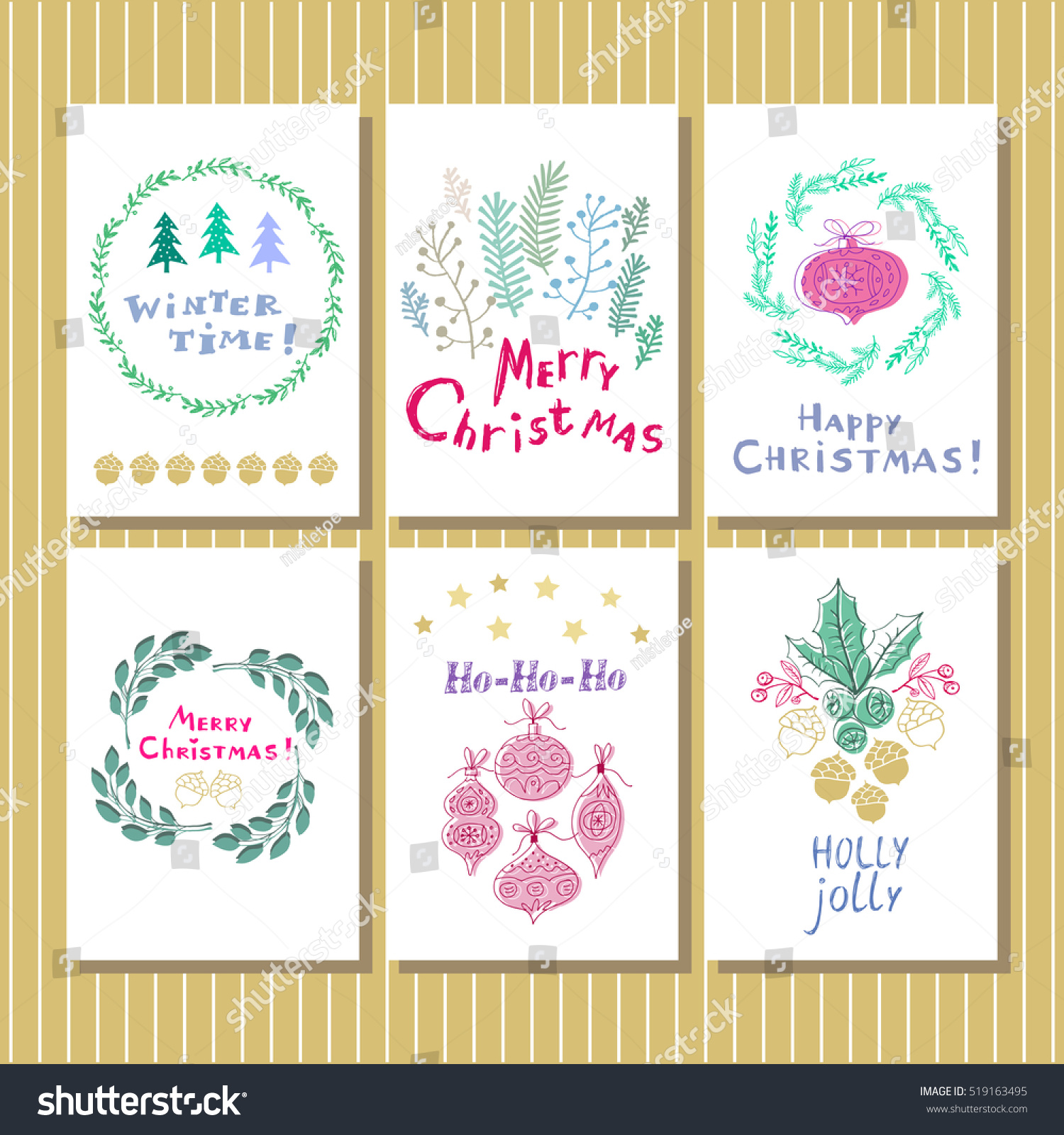 Set 6 Hand Drawn Christmas Card Stock Vector (Royalty Free ...