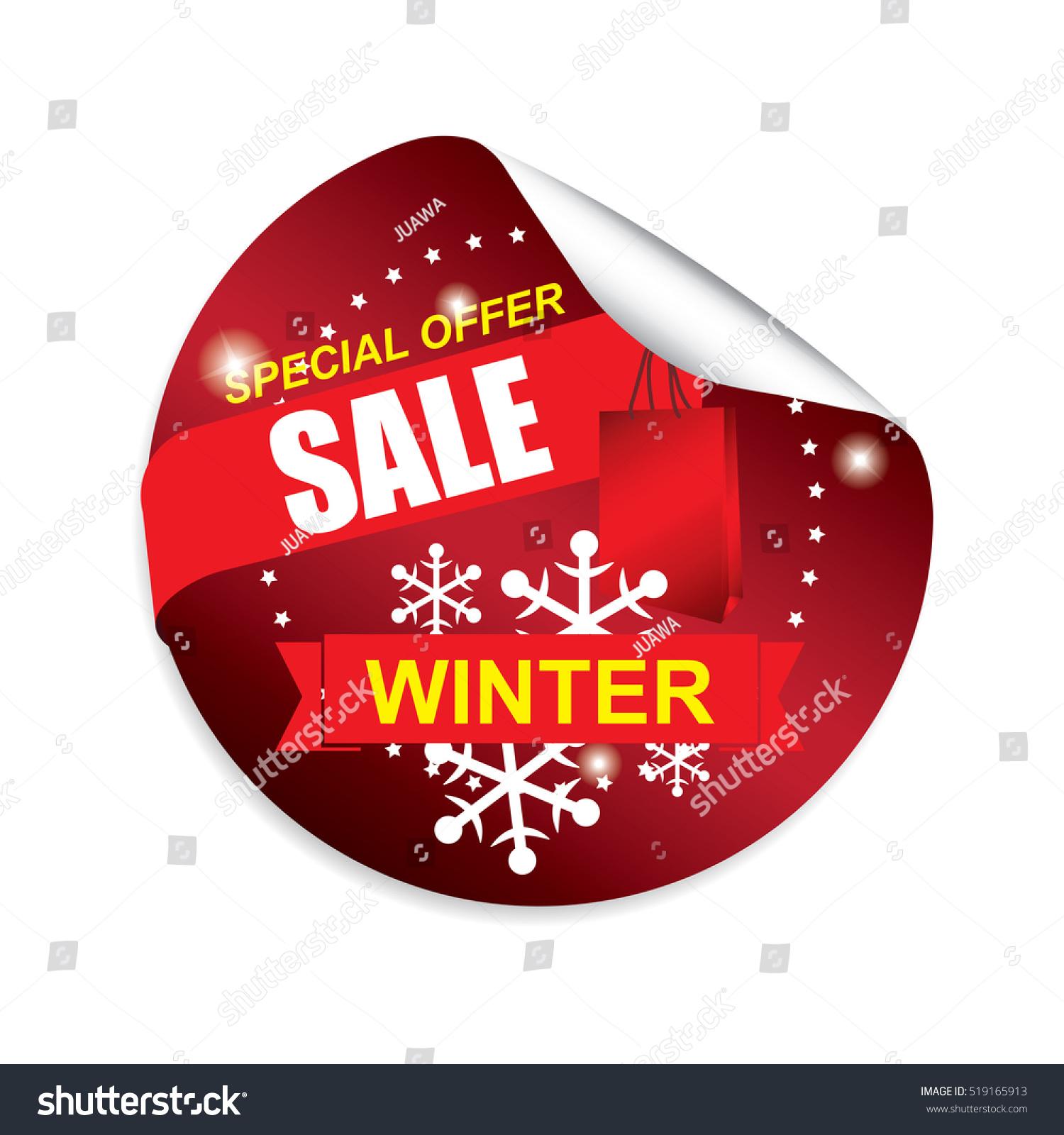 winter sale red sticker button label stock illustration
